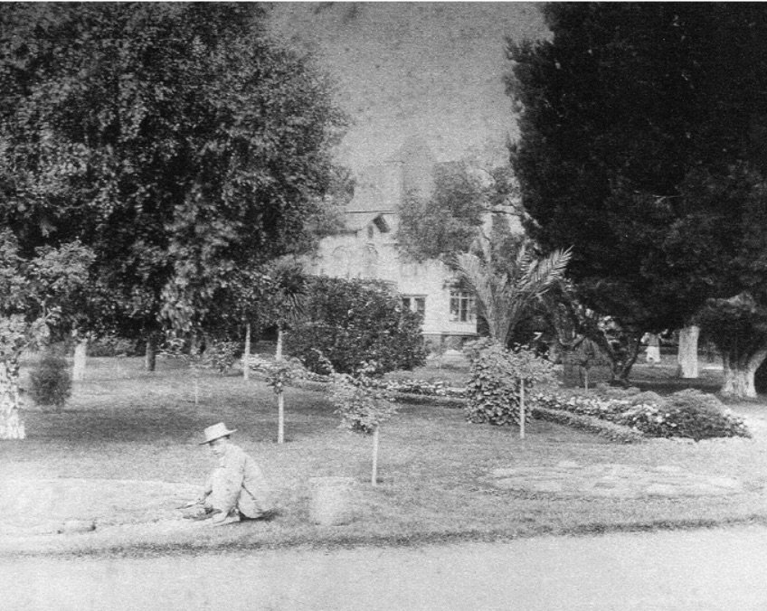 Gardener working at Stanford's PA residence - Stanford Special Collections